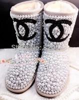 Winter 2014 hot sell craystal sparkling rhinestone handmade pearl gem fur snow boots Sexy Pearl Ankle Boot botas femininas