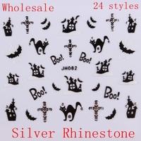 Wholesale Black White Nail Art Halloween 3D Adhesive Sticker with Silver Rhinestone 100 pcs/lot