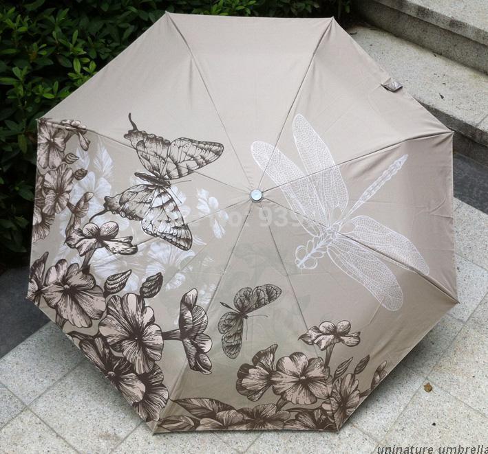 Free Shipping! new fashion oil painting umbrella Butterfly anti-uv three fold umbrella rain women 2014 hot(China (Mainland))