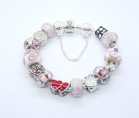 wholesale 925 Sterling Silver jewelry charms bracelet silver bracelet.clear crystal beads bracelet  PP1112