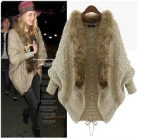 Fashion Women winter cardigan sweater cape batwing sleeve loose sweater Women outerwear coat blazer feminino casaco de batida