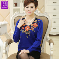 2014 autumn sweater mother clothing long-sleeve quinquagenarian basic shirt plus size female sweater