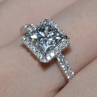 Fashion jewellery 1 kt Retiro Austrian crystal princess cut AAA zircon Rings for Women Party engagement  Wedding Ring bijoux