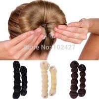 Hot Selling 2014 Fashion Hair Elegant Magic Style Bun Maker Buns (1 large 1 small) 3 Colors