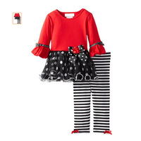 New 2014 girl clothing set, kids clothes,1pc shirt +1 pc striped leggings,lori style,five size,retail,Free Shipping