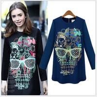 2014 autumn new European style fashion trend printed long sleeve slim dress women hit color A-line dresses black blue XXL