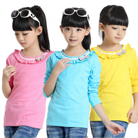 2014 autumn fall spring new children clothes clothing bow tie girls long sleeved girl t shirt t-shirt 6-14