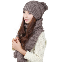 2014 Ladies Women Knitted Scarf And Hat Suite Set Winter Girl Knitting Scraves Cap Excluding Gloves 0128(China (Mainland))