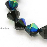 "Glass Beads Strands, Bicone, Black, Half AB Color Plated, bead: 6mm in diameter, hole: 1mm. about 12.1"", 55 pcs/strand"