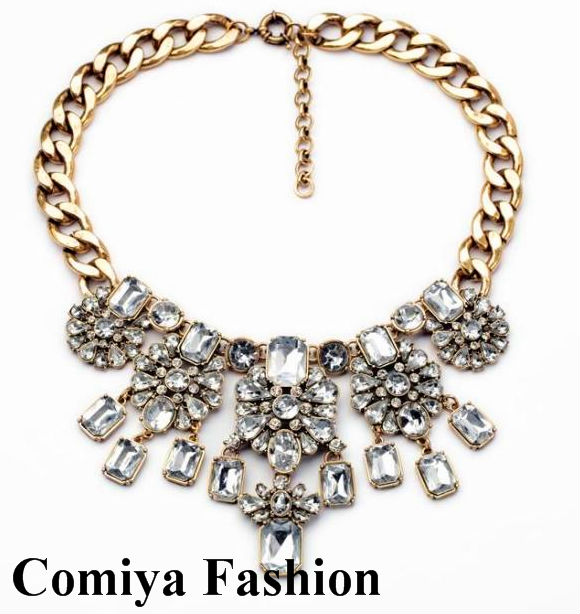 New 2014 Fashion Vintage chunky necklace Gold link Chain with imitation diamond jewelry necklaces & pendants for women cc Alloy(China (Mainland))