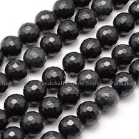 Natural Black Stone Beads Strands, Faceted, Round, Black, 10mm, Hole: 1mm; about 38pcs/strand, 15.75""