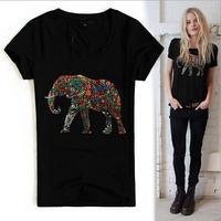 [R-441]  Free shipping 2014 summer new Women elephant tshirt Rhinestone Elephant printed cotton short-sleeved T-shirt
