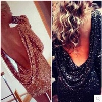 2014 Sexy Style Backless Sequins New European Fashion Stylish Dress As The Fashion Star Women's Sheath Dress In Club And Party