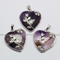 Heart Amethyst Necklaces Pendants, with Brass Pendant Settings, Platinum, Purple, 46-42x31-33mm, Hole: 6mm