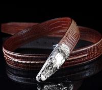 New explosion models 2014 fashion hot luxury retro classic crocodile leather  Men Belts Silver buckle  free shipping wbg0824