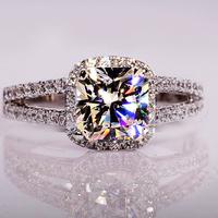 Fashion 18k gold jewelry  2 Carla Princess ring  pigeon eggs AAA zircon crystal Party wedding rings aliancas de casamento