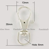 Alloy Swivel Lobster Claw Clasps, Swivel Snap Hook, Nickel Free, Silver Color, about 13mm wide,35mm long, hole: about 6mm