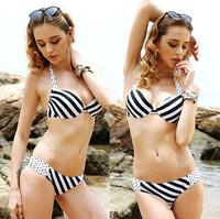 Sexy Push Up Bikinis Set Black And White Striped Swimwear Women New 2014 Bikini Brand Fashion Swimsuit Vintage Bandage Biquini