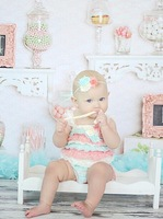 Vintage Style  Ruffle Romper,Inspired Pastel Romper,Shabby chic petti lace romper,Infant Toddler lace romer