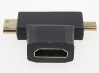 5pcs/lot Black 3 in1 Micro HDMI male + Mini HDMI male to HDMI 1.4 Female cable adapter converter for HDTV 1080P HDMI COMBO