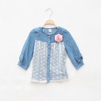 Girls Casual Denim Blouses Full Sleeve Lace Flower Blouses Children Clothing 5pcs/ LOT