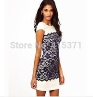 2014 European Fashion New Stylish Short Sleeve Round Collar Lace Spliced Bodycon Dress For Women Sexy Sheath Dress In Summer