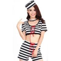 Fashion Cute Prisoner Black & White Stripes Women's Halloween Party Costume