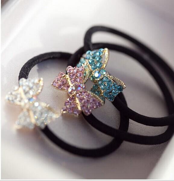New Rhinestone Hair Accessaries Gold Plated Crystal Bowknot Hair Beads Elastic Hairbands JWD06(China (Mainland))