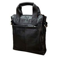 2014 New briefcases men genuine leather laptop bag Portable leather men's bags handbags black color