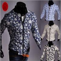 8 Colors M-2XL 2014 New Winter Manta Tops Brand Fashion Man Jacket Printed Men Cardigans Jackets Floral Sleeve Men's Coat AX724