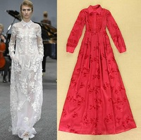 Best Grade New Fashion Celebrity Party Dress 2014 Autumn  Women Turn-Down High Collar Long Sleeve Wedding Party Dress White Red
