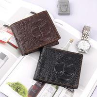 2014 Hot selling Men's Genuine Leather wallets embossed face pattern men wallets  fashion short design purse QB18