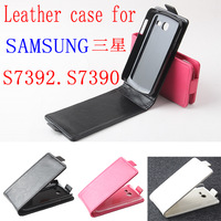 Luxury Leather Case For samsung galaxy trend lite s7390 s7392 Wallet  Flip Cover Phone Cases  Black White Rose Color