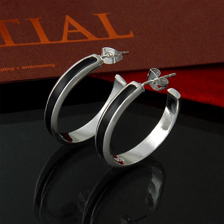 Direto da fábrica por atacado 925 gota trombeta de prata da orelha óleo preto pingente moda jóias anel de prata(China (Mainland))