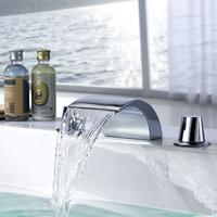 "Brass Waterfall Bathroom Basin Faucet Handles Hot Cold Basin Mixer Water Tap Deck Mounted 4"" Minispread torneira para banheiro"