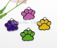 20PCs Vintage Mixed Color Cats Dogs Enamel Paw Prints Charms Pendants 28*27mm Fit Bracelet Fashion Jewelry Making Craft DIY X263