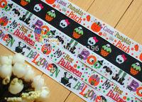 "20 Yards Wholesale 7/8""(22mm) Halloween Skull Spider Pumpkin Printed Grosgrain Ribbon Hair Bow Craft Scrapbook"