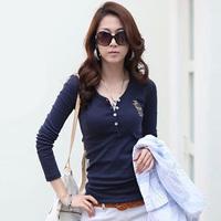 2014 Women's Spring autumn V-neck Embroidery Logo Long-sleeve T-shirt Basic Shirt Ladies Fashion T-shirt Plus Size S-XXXL