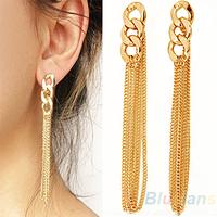Retro Long earrings for women Chunky Chain Fancy Dress Golden Tassel Chain dangle earring 043N