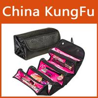 NEW Black cosmetic bag fashion women makeup bag hanging toiletries travel organizer Snap-Shut Flap and hang tag/ jewelry bag