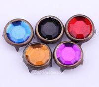 Free Shipping 200pcs/lot Mixed Color Red Black Purple Black Antique Bronze Metal DIY Rhinestone Stud Rivet for Cloth Decration