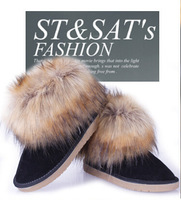 Autumn boots Winter Warm flat snow boots women's artificial fox fur leather suede  shoes ankle boots free shipping