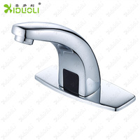 Xiduoli Mixer Contemporary Deck Mounted Chrome Plating Crane Single Cold ir Faucet for Bathroom with 1pcs Hoses Battery 4aa