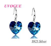 New top quality 100% S925 pure silver blue heart of Sea  Austria SWA crystal romantic fashion drop earrings (UVOGUE UE0136)
