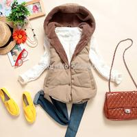 2014 New Fashion autumn winter vest women Hooded vest Slim Plus Velvet Vest Thermal Down Cotton thick With A Hood Vest