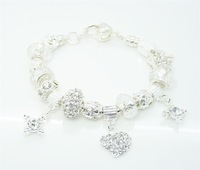 wholesale 925 Sterling Silver jewelry charms bracelet silver bracelet.clear crystal beads bracelet  PXB127