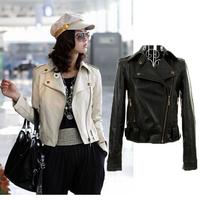 2014 Fashion Autumn Women Coat Punk Lapel Long-sleeved Short Rivet Pu Leather Jacket Women Pu Leather Coats Jackets AS1453