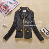 2014 autumn winter new Women's cotton jacket Lady short coats women's fashion outwear fashion black Jackets plus size XXXL