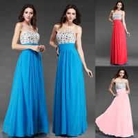 Fashion blue Sexy Backless Long evening dress Tube Top  prom dresses 2014 evening dresses celebrity dresses robe de soiree E83