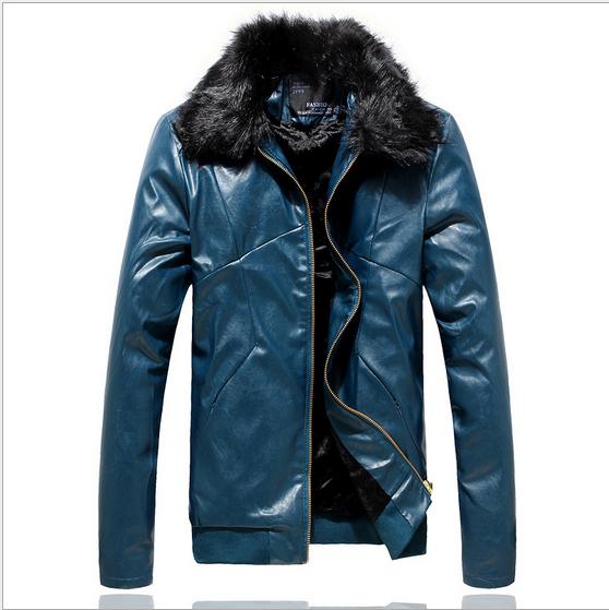 Winter mens leather jacket motorcycle leather jacket detachable fur collar male short slim fit men coat jacket leather men WE843(China (Mainland))